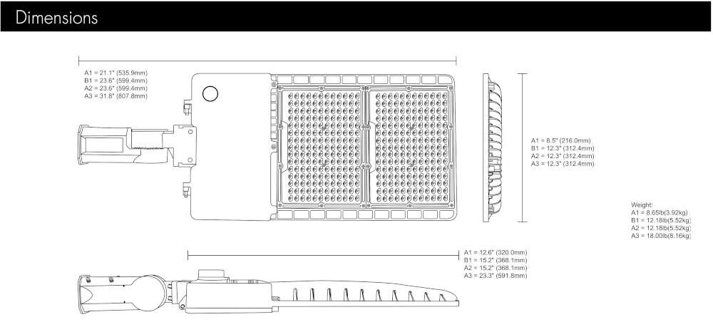 Picture of 100 watt / 13500 lumen LED Area Light with photocell